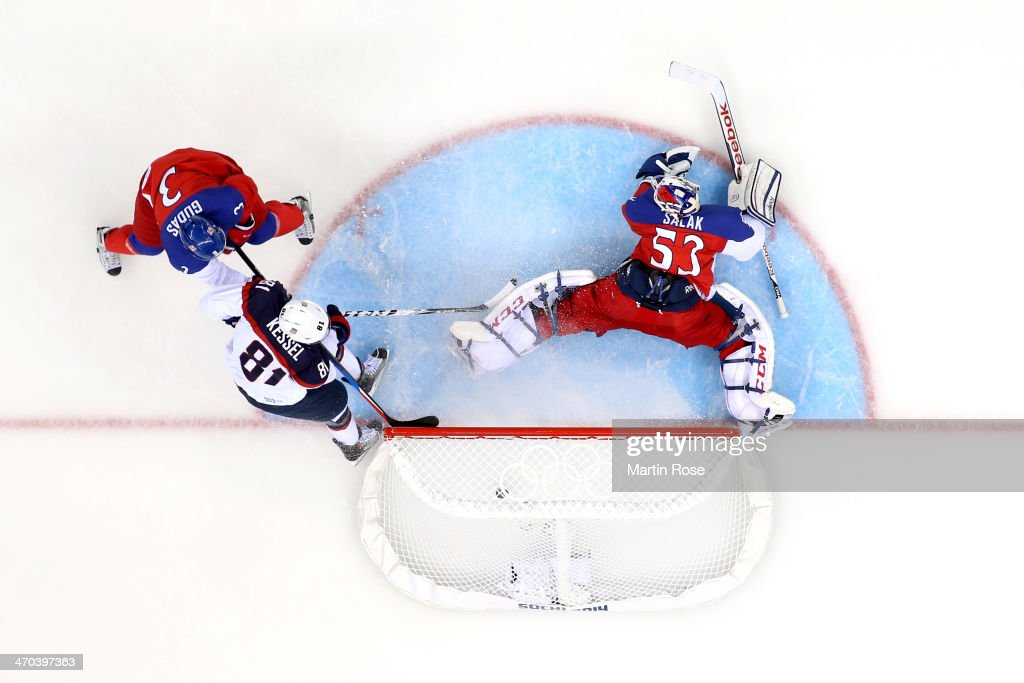 <a gi-track='captionPersonalityLinkClicked' href=/galleries/search?phrase=Phil+Kessel&family=editorial&specificpeople=537794 ng-click='$event.stopPropagation()'>Phil Kessel</a> #81 of the United States scores a goal in the third period against Alexander Salak #53 of the Czech Republic during the Men's Ice Hockey Quarterfinal Playoff on Day 12 of the 2014 Sochi Winter Olympics at Shayba Arena on February 19, 2014 in Sochi, Russia.