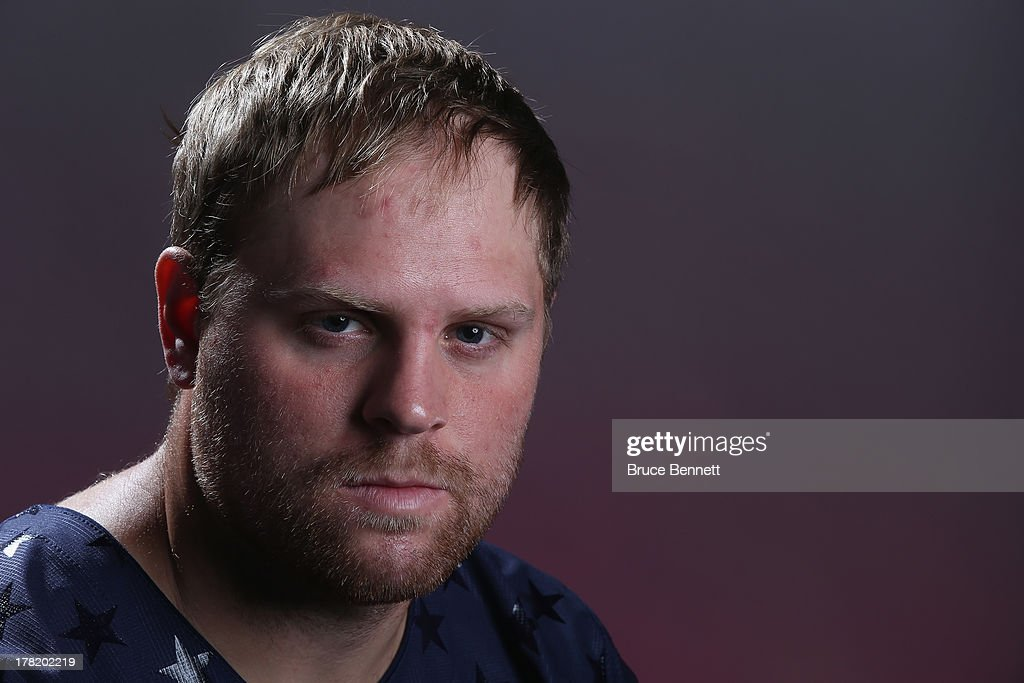 Phil Kessel poses after being named a candidate for the 2014 USA Hockey Olympic Team at the Kettler Capitals Iceplex on August 27, 2013 in Arlington, Virginia.