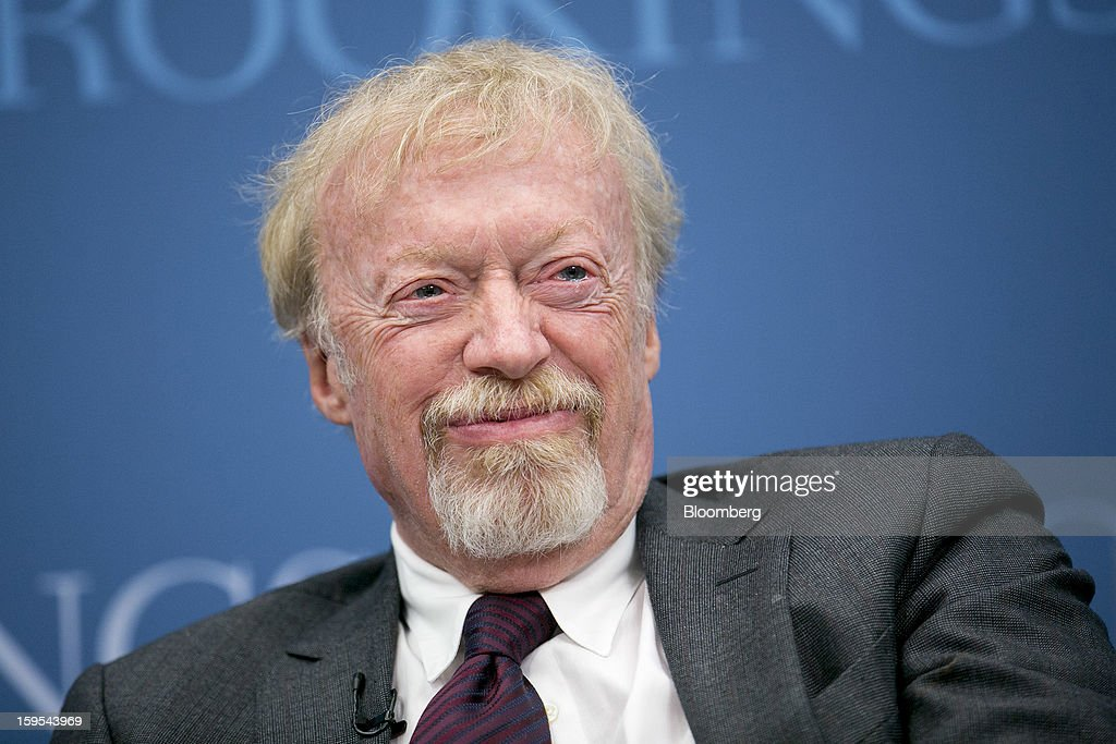 Phil Knight, chairman and co-founder of Nike Inc., laughs during a panel discussion at the Brookings Institution in Washington, D.C., U.S., on Tuesday, Jan. 15, 2013. The event was titled 'Fostering Growth Through Innovation.' Photographer: Andrew Harrer/Bloomberg via Getty Images