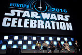 Phil Lord Chris Miller Rian Johnson Kiri Hart Kathleen Kennedy and Pablo Hidalgo on stage during Future Directors Panel at the Star Wars Celebration...
