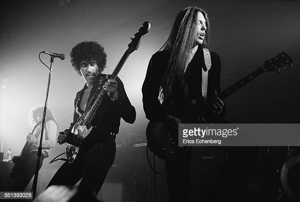 Phil Lynott and Scott Gorham of Thin Lizzy perform on stage at Colston Hall Bristol United Kingdom October 22 1976