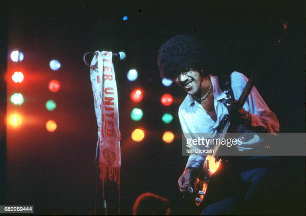Phil Lynott of Thin Lizzy performing on stage at Hammersmith Odeon London 16 November 1976