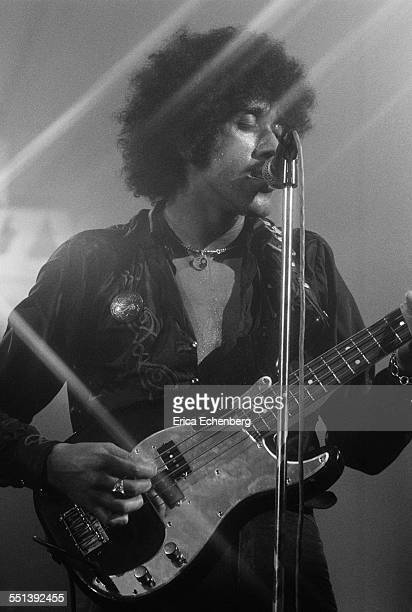 Phil Lynott of Thin Lizzy performs on stage at Colston Hall Bristol United Kingdom October 22 1976
