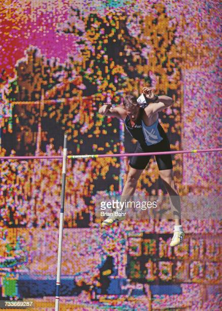 Phil McMullen attempts to clears the bar during the Men's Decathlon Pole Vault event at the United States Olympic Trials for track and field on 21...