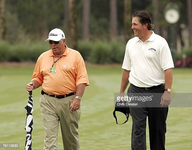 Phil Mickelson and Butch Harmon prior to the final round of THE PLAYERS Championship held on THE PLAYERS Stadium Course at TPC Sawgrass in Ponte...