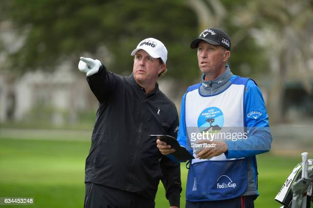 Phil Mickelson and Jim 'Bones' Mackay play the the fifth hole during the first round of the ATT Pebble Beach ProAm at Monterey Peninsula Country Club...