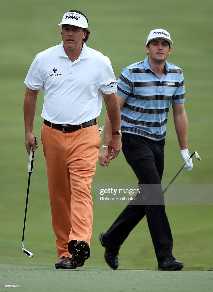 Phil Mickelson and Keegan Bradley in action during a practise round for THE PLAYERS Championship at TPC Sawgrass on May 7, 2013 in Ponte Vedra Beach, Florida.
