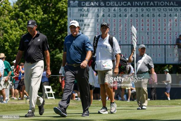 Phil Mickelson and Matt Kuchar walk off the sixth tee box during the first round of the Dean Deluca Invitational on May 25 2017 at Colonial Country...