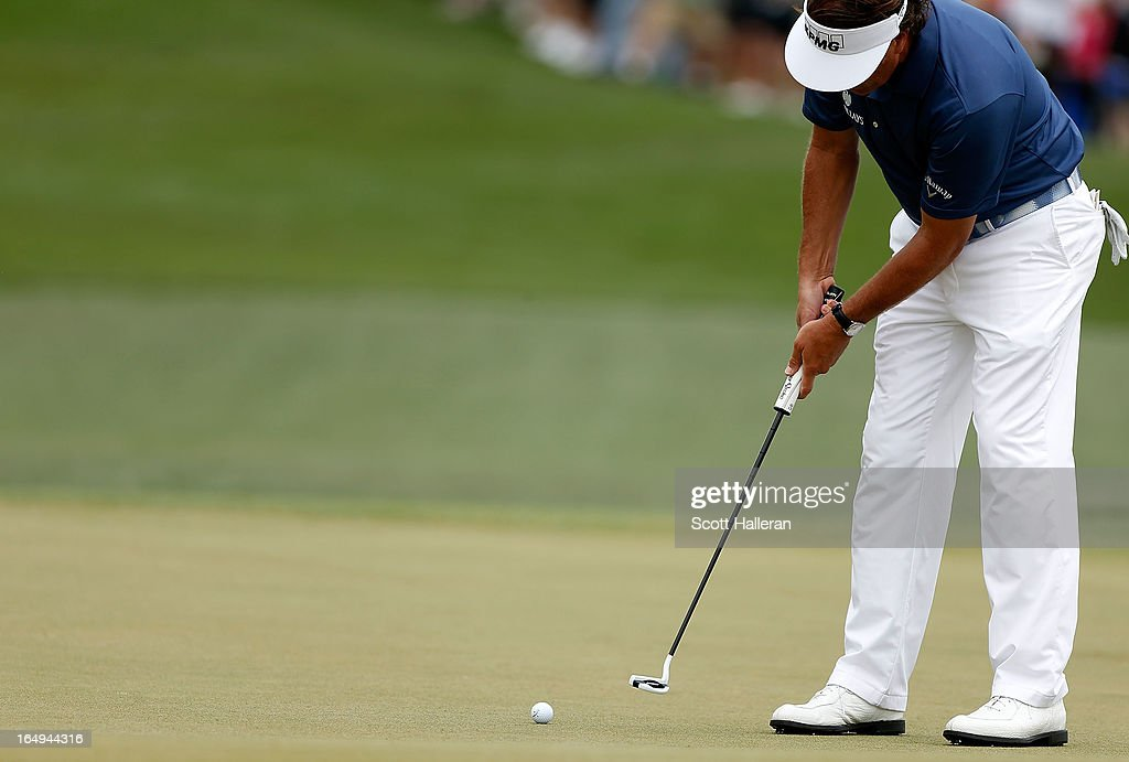 Phil Mickelson hits a putt during the second round of the Shell Houston Open at the Redstone Golf Club on March 29, 2013 in Humble, Texas.