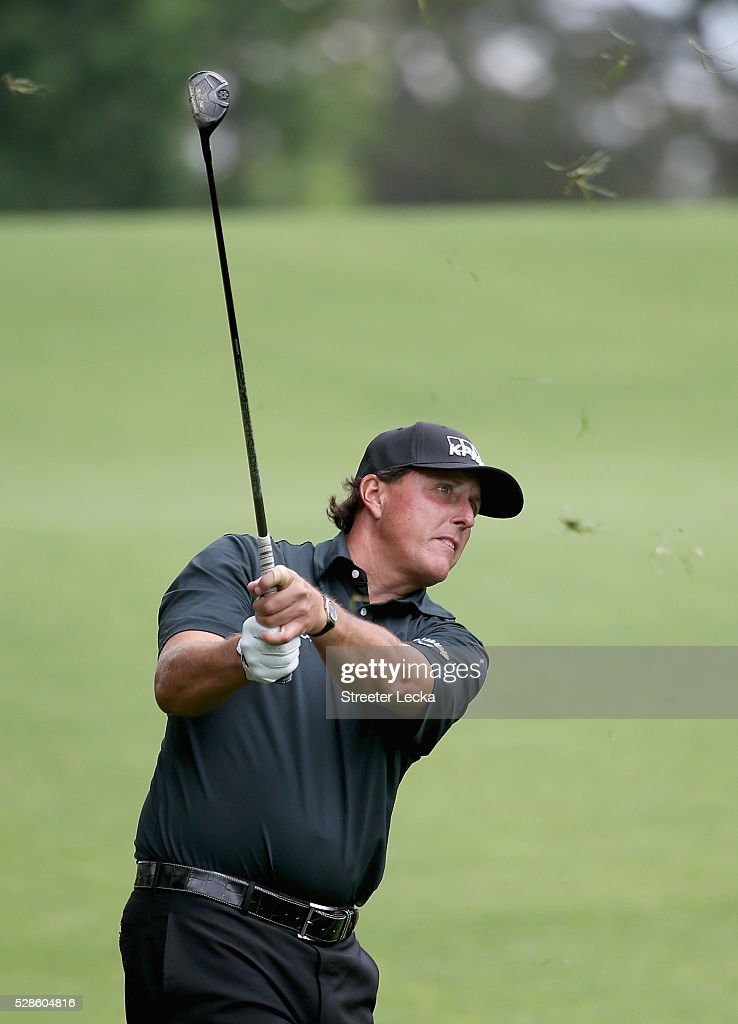 Phil Mickelson hits a shot on the fifth hole during the second round of the 2016 Wells Fargo Championship at Quail Hollow Club on May 6, 2016 in Charlotte, North Carolina.