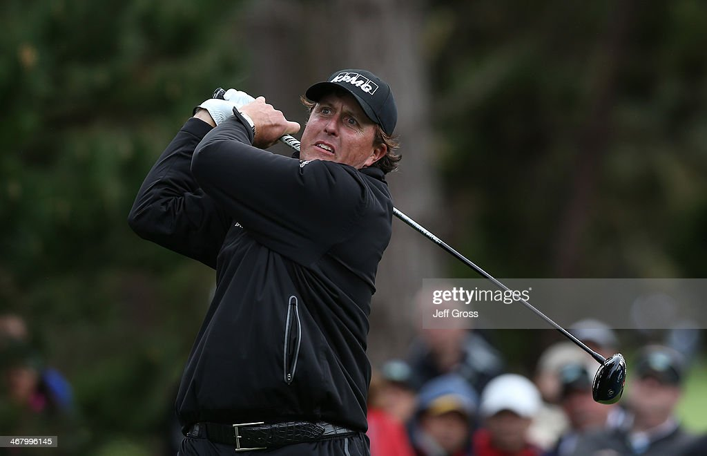 <a gi-track='captionPersonalityLinkClicked' href=/galleries/search?phrase=Phil+Mickelson&family=editorial&specificpeople=157543 ng-click='$event.stopPropagation()'>Phil Mickelson</a> hits a tee shot during the third round of the AT&T Pebble Beach National Pro-Am at the Spyglass Hill Golf Course on February 8, 2014 in Pebble Beach, California.