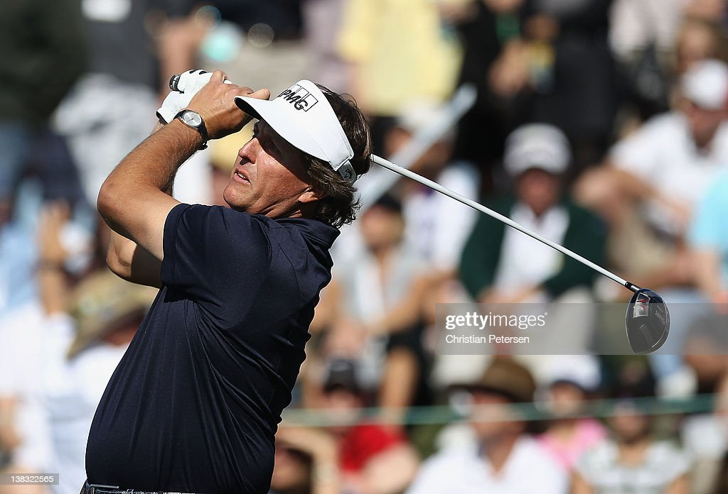 <a gi-track='captionPersonalityLinkClicked' href=/galleries/search?phrase=Phil+Mickelson&family=editorial&specificpeople=157543 ng-click='$event.stopPropagation()'>Phil Mickelson</a> hits a tee shot on the 10th hole during the final round of the Waste Management Phoenix Open at TPC Scottsdale on February 5, 2012 in Scottsdale, Arizona.