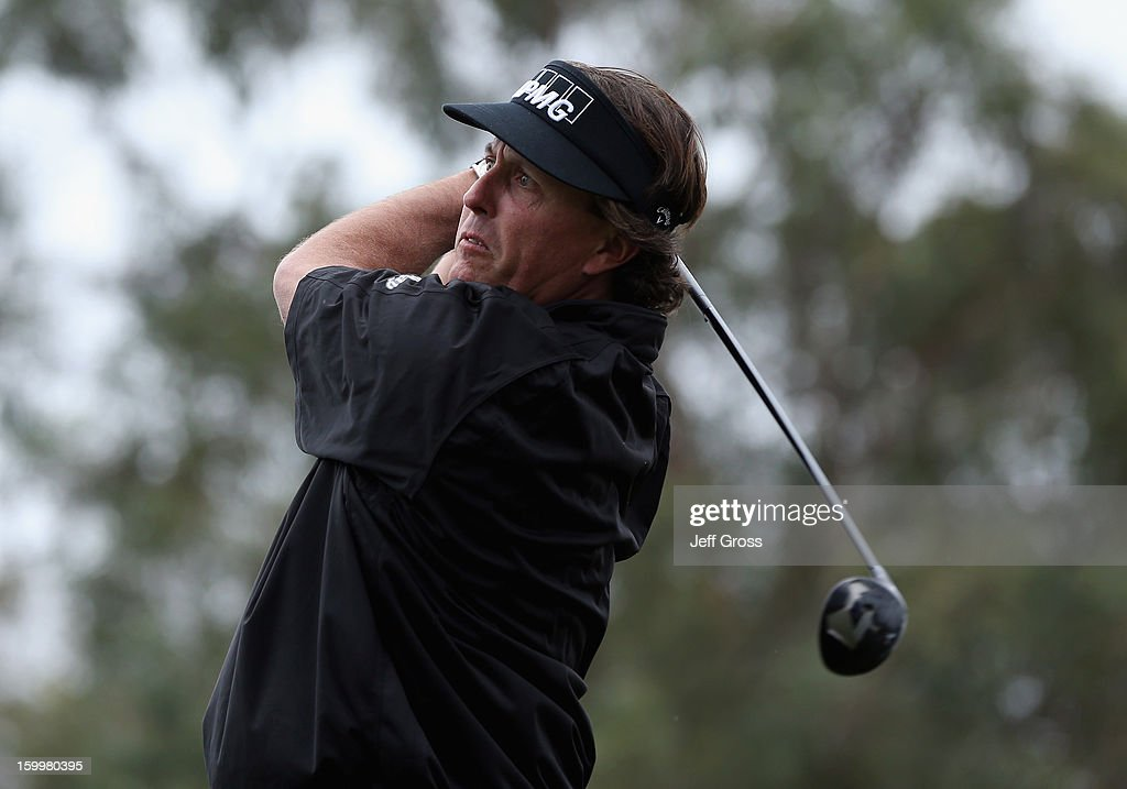 Phil Mickelson hits a tee shot on the 11th hole during the first round of the Farmers Insurance Open at Torrey Pines North Course on January 24, 2013 in La Jolla, California.