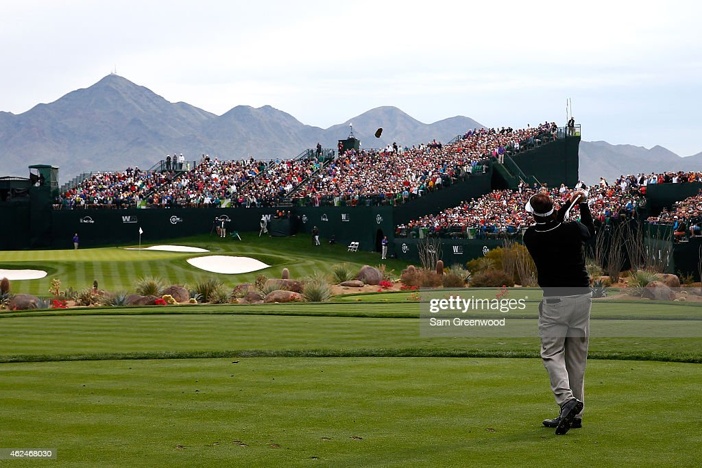 Phil Mickelson hits a tee shot on the 16th hole during the first round of the Waste Management Phoenix Open at TPC Scottsdale on January 29 2015 in...