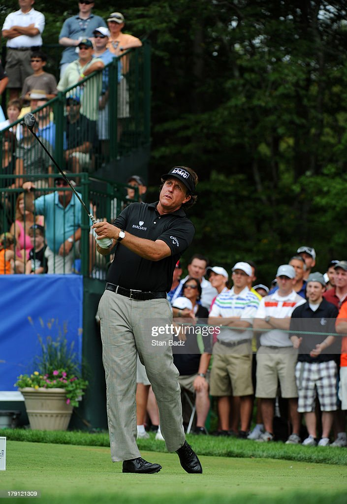 <a gi-track='captionPersonalityLinkClicked' href=/galleries/search?phrase=Phil+Mickelson&family=editorial&specificpeople=157543 ng-click='$event.stopPropagation()'>Phil Mickelson</a> hits a tee shot the first hole during the second round of the Deutsche Bank Championship at TPC Boston on August 31, 2013 in Norton, Massachusetts.