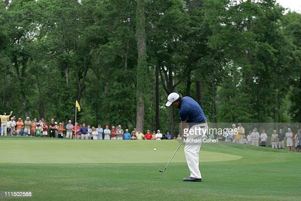 Phil Mickelson hits his second shot on the 13th hole during the final round of the Shell Houston Open at Redstone Golf Club on April 3 2011 in Humble...