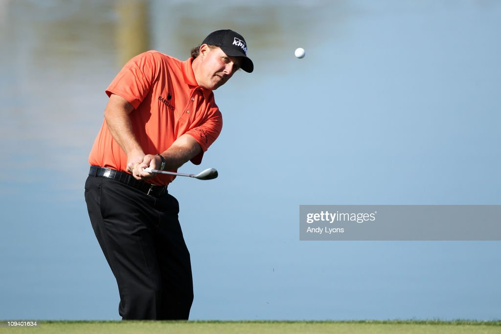Phil Mickelson hits his second shot on the third hole during the second round of the Accenture Match Play Championship at the Ritz-Carlton Golf Club on February 24, 2011 in Marana, Arizona.