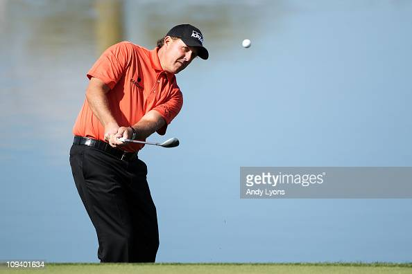 Phil Mickelson hits his second shot on the third hole during the second round of the Accenture Match Play Championship at the RitzCarlton Golf Club...