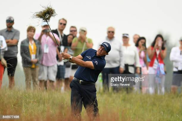 Phil Mickelson hits his second shot on the third hole during the first round of the BMW Championship at Conway Farms Golf Club on September 14 2017...