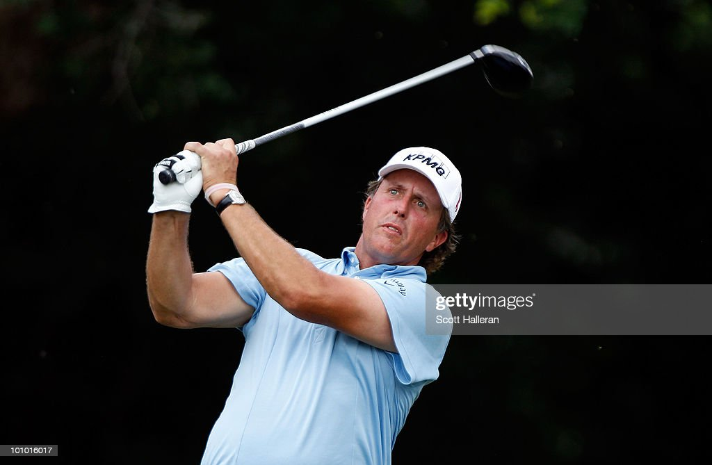 Phil Mickelson hits his tee shot on the 12th hole during the first round of the 2010 Crowne Plaza Invitational at the Colonial Country Club on May 27, 2010 in Ft. Worth, Texas