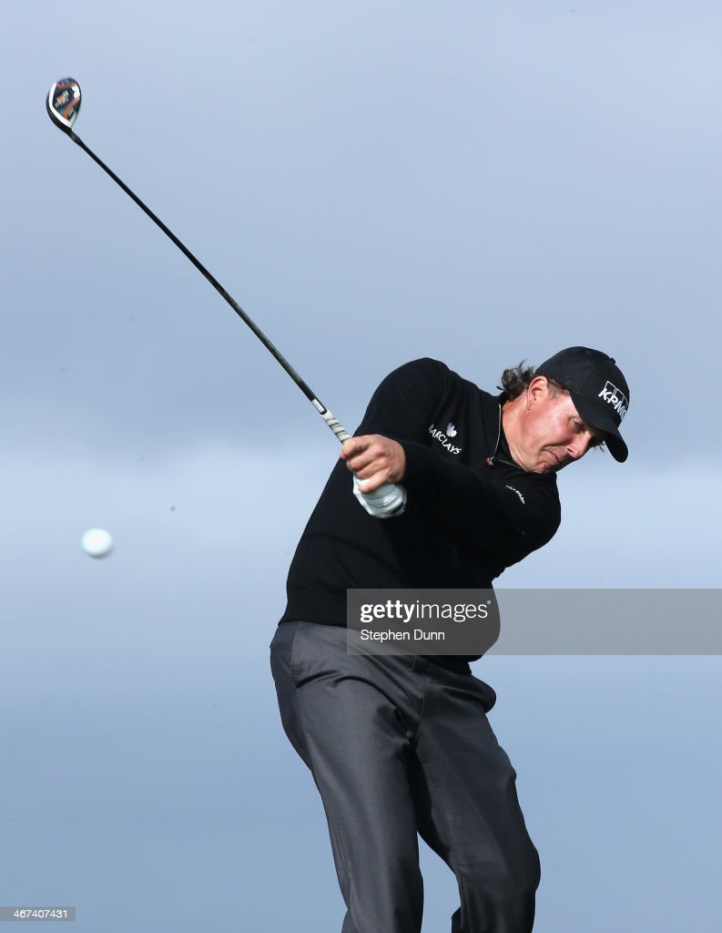 <a gi-track='captionPersonalityLinkClicked' href=/galleries/search?phrase=Phil+Mickelson&family=editorial&specificpeople=157543 ng-click='$event.stopPropagation()'>Phil Mickelson</a> hits his tee shot on the 13th hole during the first round of the AT&T Pebble Beach National Pro-Am at Monterey Peninsula Country Club on February 6, 2014 in Pebble Beach, California.