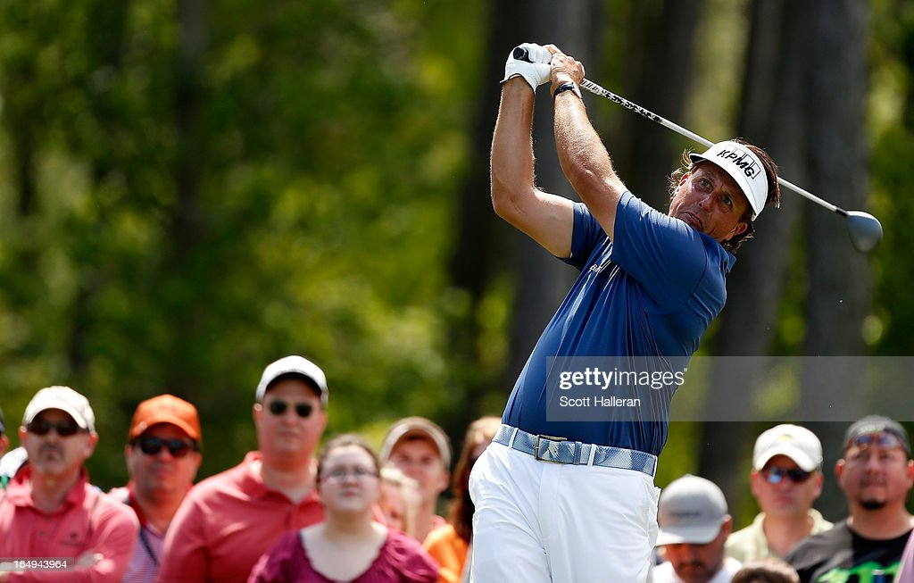 Phil Mickelson hits his tee shot on the eighth hole during the second round of the Shell Houston Open at the Redstone Golf Club on March 29, 2013 in Humble, Texas.