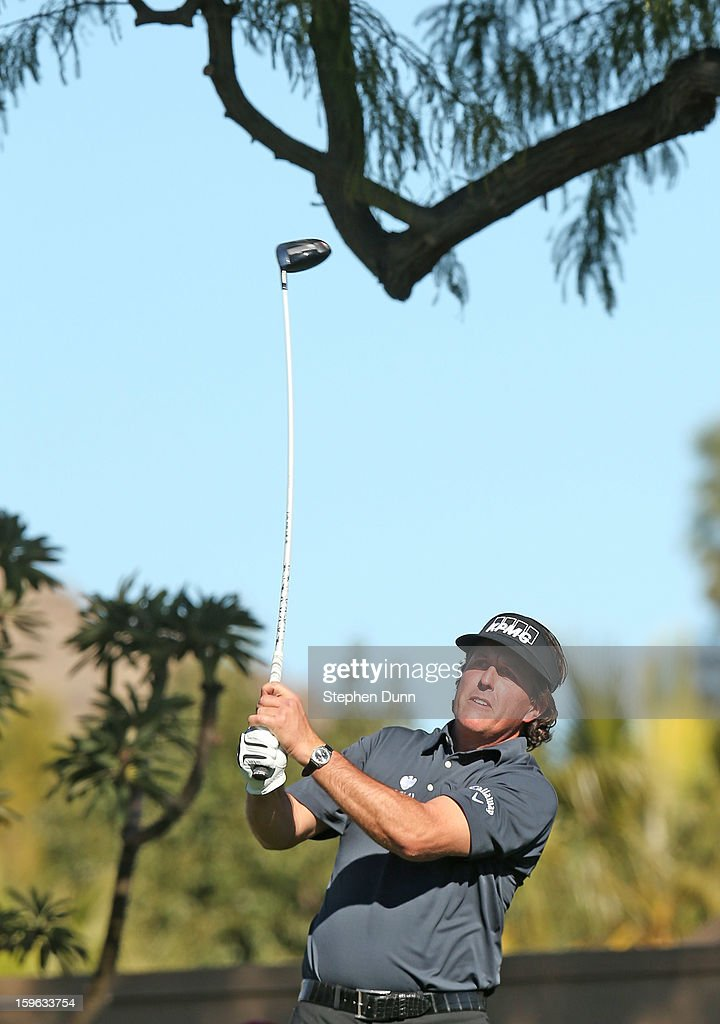 Phil Mickelson hits his tee shot on the sixth hole during the first round of the Humana Challenge in partnership with the Clinton Foundation at La Quinta Country Club on January 17, 2013 in La Quinta, California.