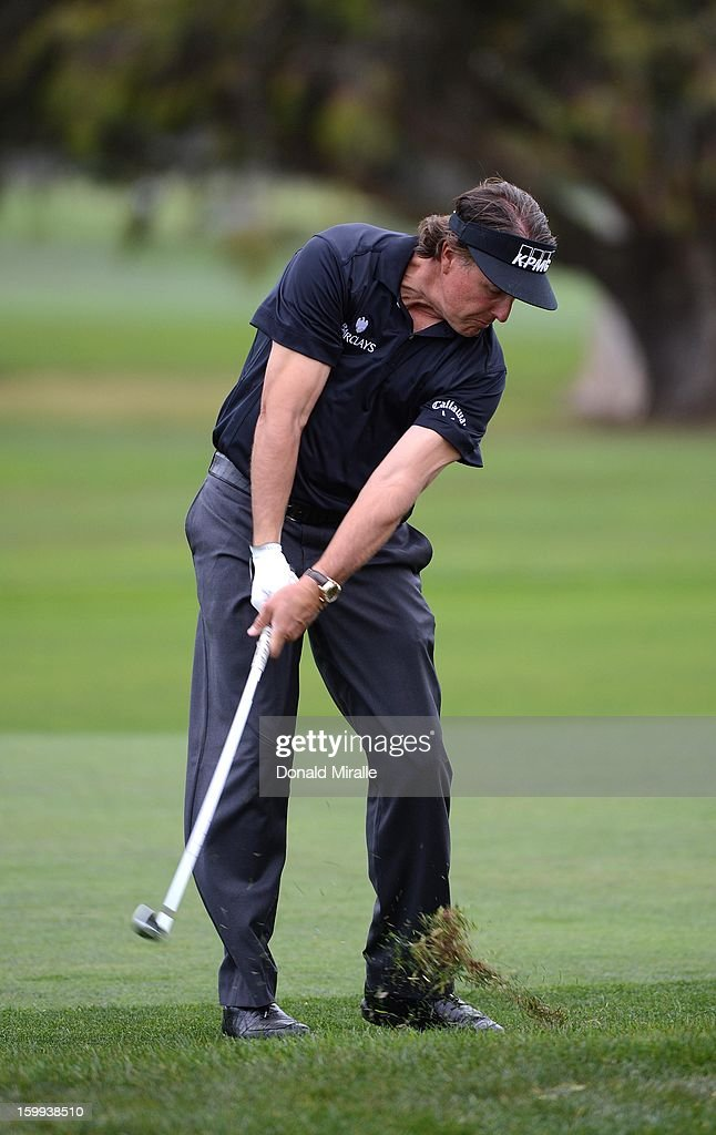 Phil Mickelson hits off the fairways during the Pro-Am at the Farmers Insurance Open at Torrey Pines South Golf Course on January 23, 2013 in La Jolla, California.