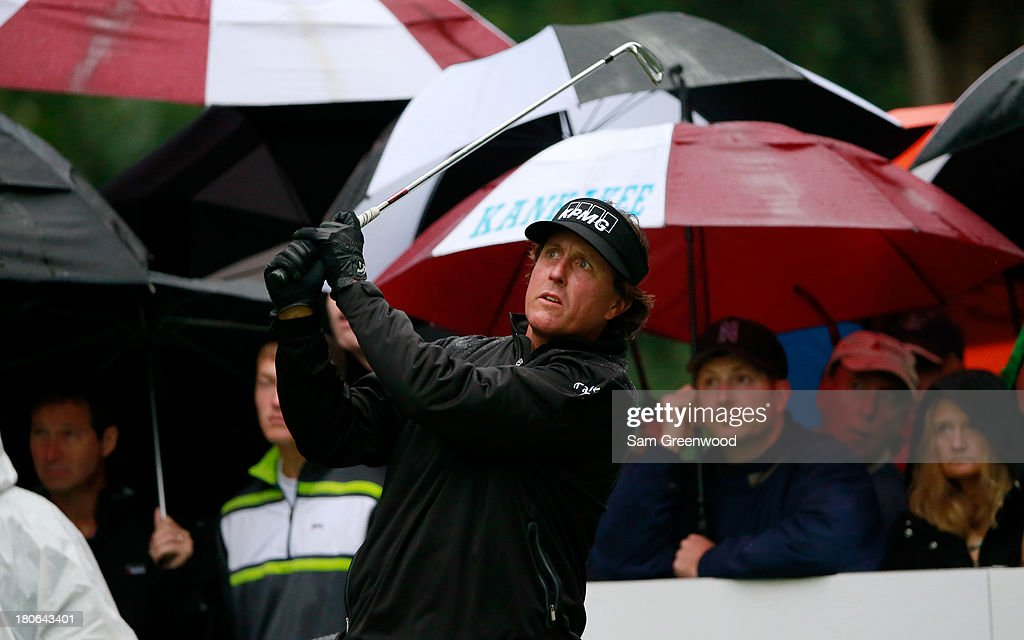 Phil Mickelson hits off the second tee during the Final Round of the BMW Championship at Conway Farms Golf Club on September 15, 2013 in Lake Forest, Illinois.