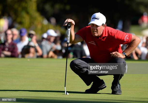 Phil Mickelson lines up a putt on the 13th hole during the third round of the Safeway Open at the North Course of the Silverado Resort and Spa on...