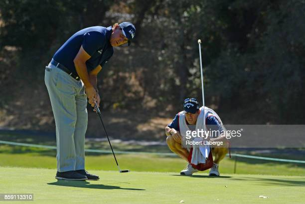 Phil Mickelson lines up a putt on the fourth hole during the final round of the Safeway Open at the North Course of the Silverado Resort and Spa on...