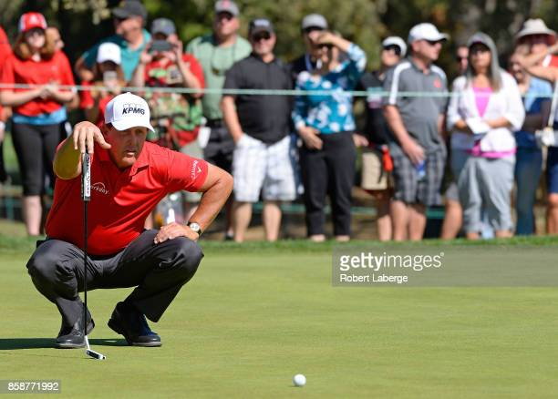 Phil Mickelson lines up a putt on the second hole during the third round of the Safeway Open at the North Course of the Silverado Resort and Spa on...