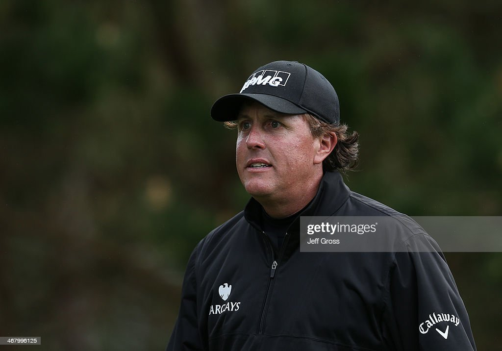 <a gi-track='captionPersonalityLinkClicked' href=/galleries/search?phrase=Phil+Mickelson&family=editorial&specificpeople=157543 ng-click='$event.stopPropagation()'>Phil Mickelson</a> looks on during the third round of the AT&T Pebble Beach National Pro-Am at the Spyglass Hill Golf Course on February 8, 2014 in Pebble Beach, California.