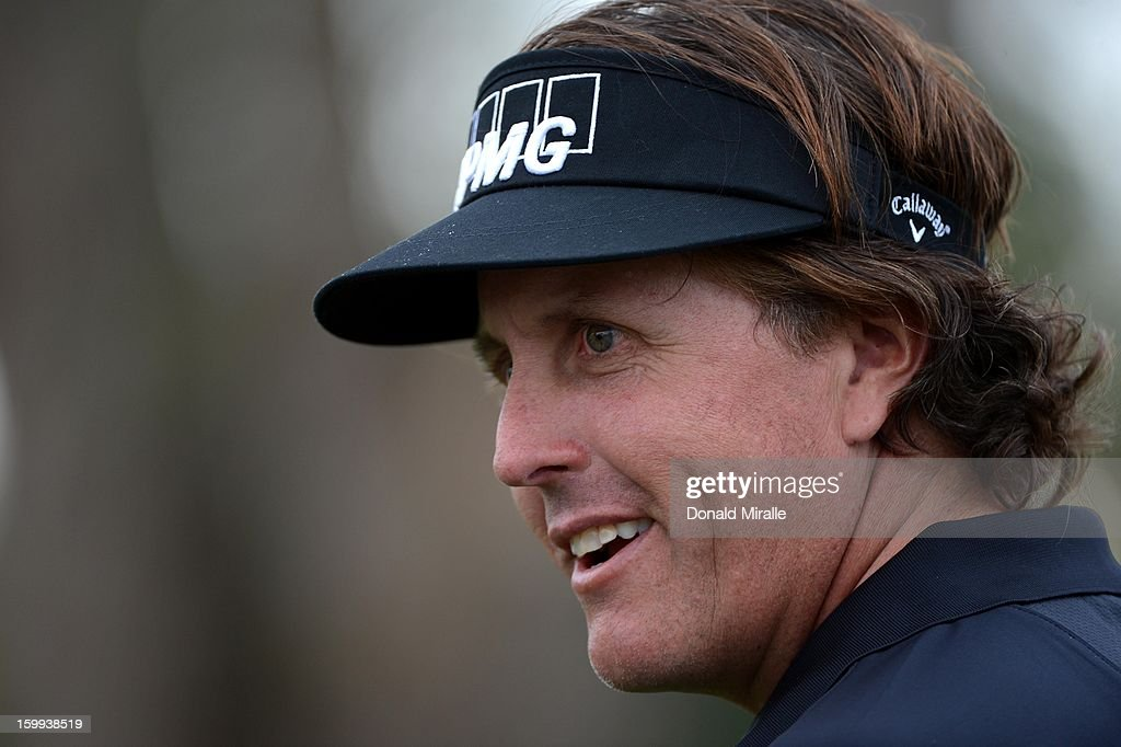 Phil Mickelson looks on the 8th hole during the Pro-Am at the Farmers Insurance Open at Torrey Pines South Golf Course on January 23, 2013 in La Jolla, California.
