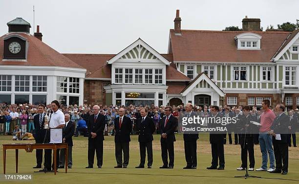 Phil Mickelson of the United States addresses the crowd during the presentation ceremony after the final round of the 142nd Open Championship at...