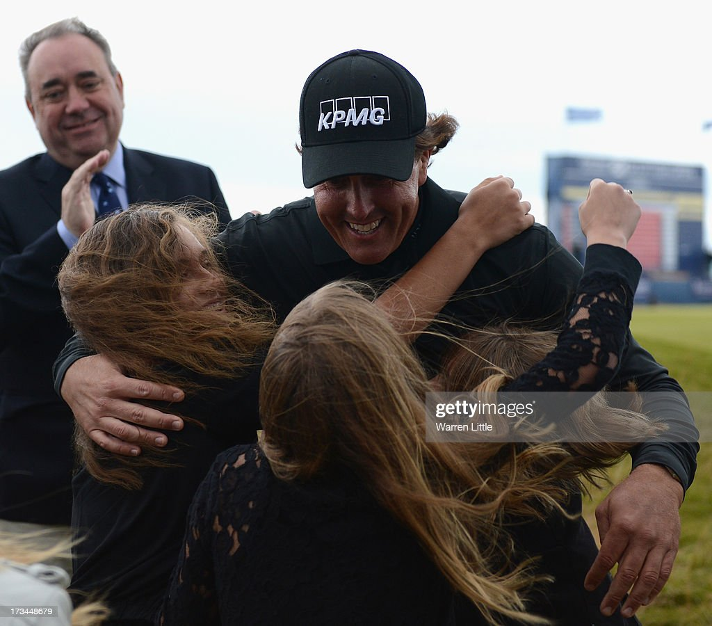 <a gi-track='captionPersonalityLinkClicked' href=/galleries/search?phrase=Phil+Mickelson&family=editorial&specificpeople=157543 ng-click='$event.stopPropagation()'>Phil Mickelson</a> of the United States embraces his children Evan, Amanda (L) and Sophia after his victory on the 1st hole of a sudden-death playoff during the final round of the Aberdeen Asset Management Scottish Open at Castle Stuart Golf Links on July 14, 2013 in Inverness, Scotland.