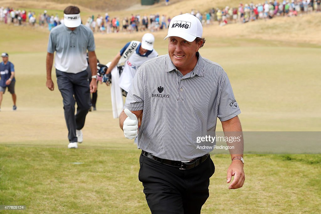 Phil Mickelson of the United States gives a thumbs-up as he leaves the 11th green during the first round of the 115th U.S. Open Championship at Chambers Bay on June 18, 2015 in University Place, Washington.