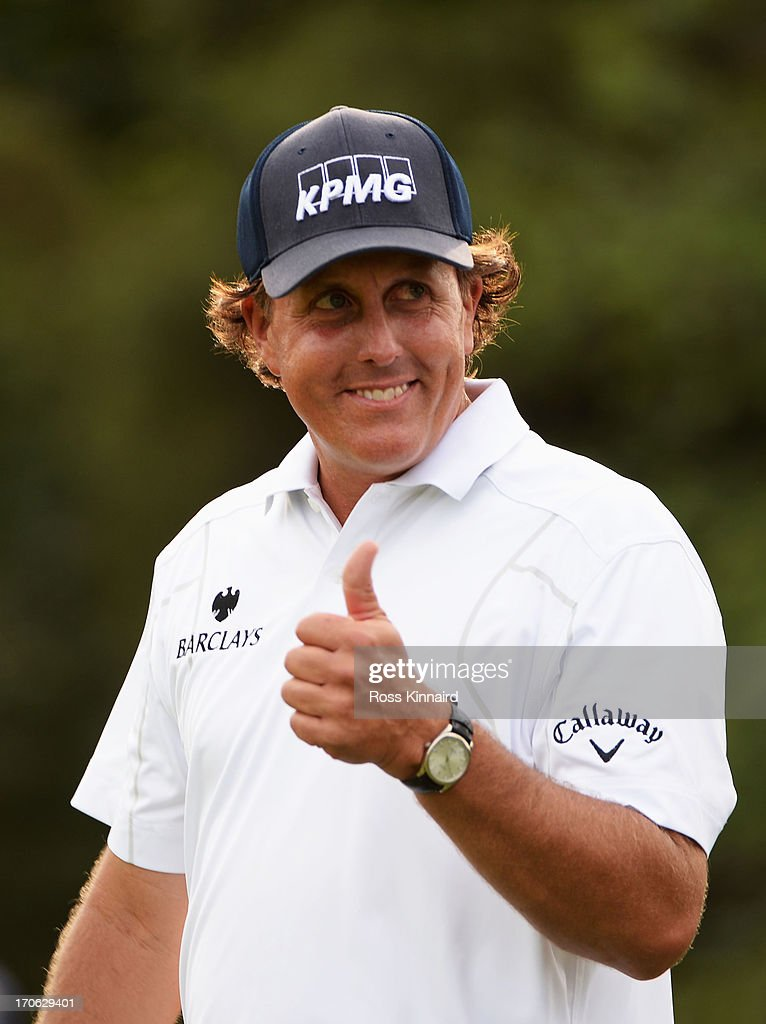 Phil Mickelson of the United States gives a thumbs-up on the 11th tee during Round Three of the 113th U.S. Open at Merion Golf Club on June 15, 2013 in Ardmore, Pennsylvania.