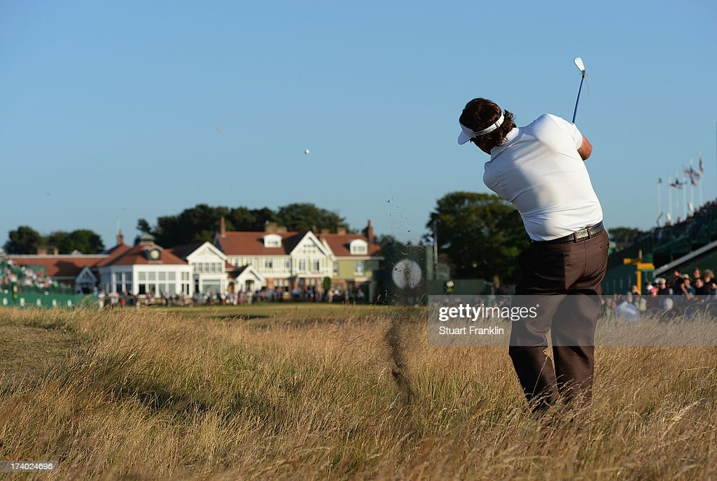 <a gi-track='captionPersonalityLinkClicked' href=/galleries/search?phrase=Phil+Mickelson&family=editorial&specificpeople=157543 ng-click='$event.stopPropagation()'>Phil Mickelson</a> of the United States hits a shot on the 18th during the second round of the 142nd Open Championship at Muirfield on July 19, 2013 in Gullane, Scotland.