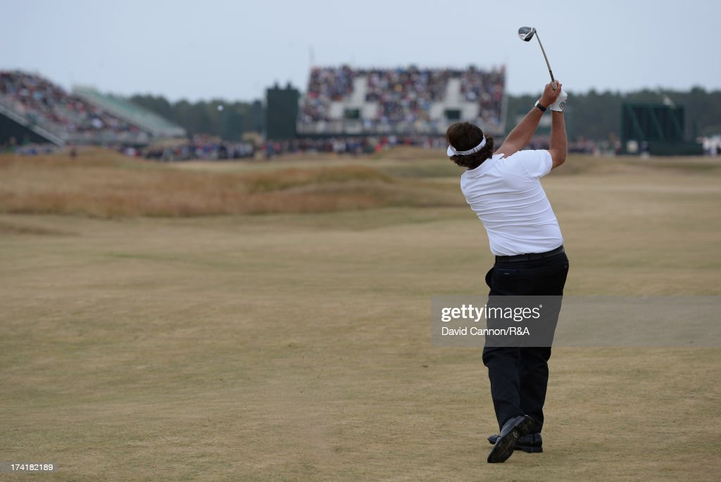 Phil Mickelson of the United States hits his 2nd shot on the 17th hole during the final round of the 142nd Open Championship at Muirfield on July 21...