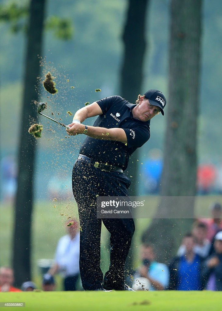 <a gi-track='captionPersonalityLinkClicked' href=/galleries/search?phrase=Phil+Mickelson&family=editorial&specificpeople=157543 ng-click='$event.stopPropagation()'>Phil Mickelson</a> of the United States hits his second shot on the 13th hole during the second round of the 96th PGA Championship at Valhalla Golf Club on August 8, 2014 in Louisville, Kentucky.
