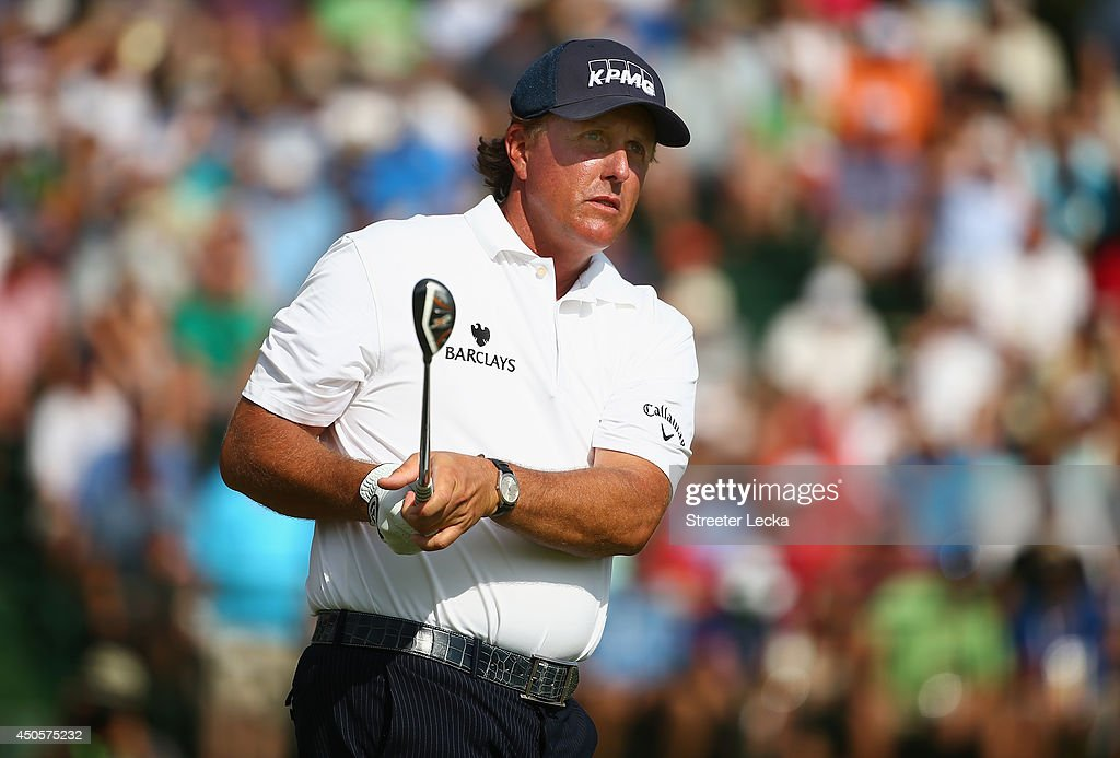 Phil Mickelson of the United States hits his tee shot on the 13th hole during the second round of the 114th U.S. Open at Pinehurst Resort & Country Club, Course No. 2 on June 13, 2014 in Pinehurst, North Carolina.