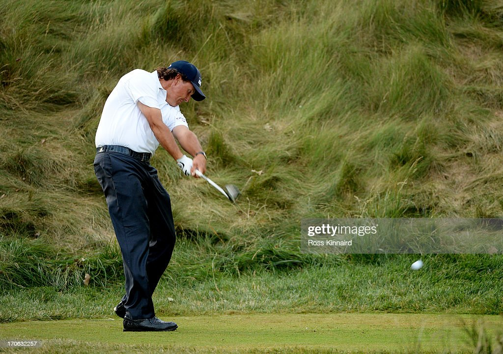 Phil Mickelson of the United States hits his tee shot on the 18th hole during Round Three of the 113th U.S. Open at Merion Golf Club on June 15, 2013 in Ardmore, Pennsylvania.