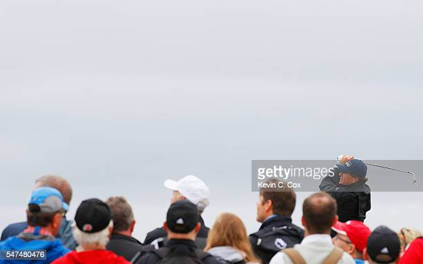 Phil Mickelson of the United States hits his tee shot on the 5th during the second round on day two of the 145th Open Championship at Royal Troon on...
