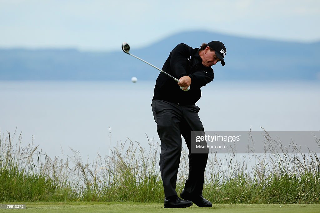 Phil Mickelson of the United States hits his tee shot on the ninth hole during the ProAm prior to the start of the Aberdeen Asset Management Scottish...