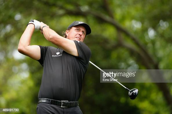 Phil Mickelson of the United States hits his tee shot on the second hole during the final round of the 2015 Masters Tournament at Augusta National...