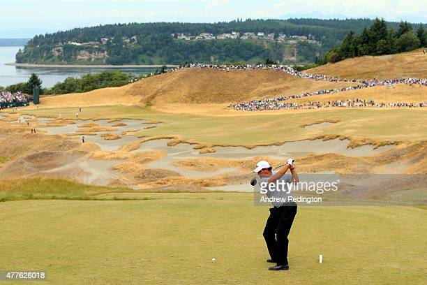 Phil Mickelson of the United States hits his tee shot on the the 14th hole during the first round of the 115th US Open Championship at Chambers Bay...