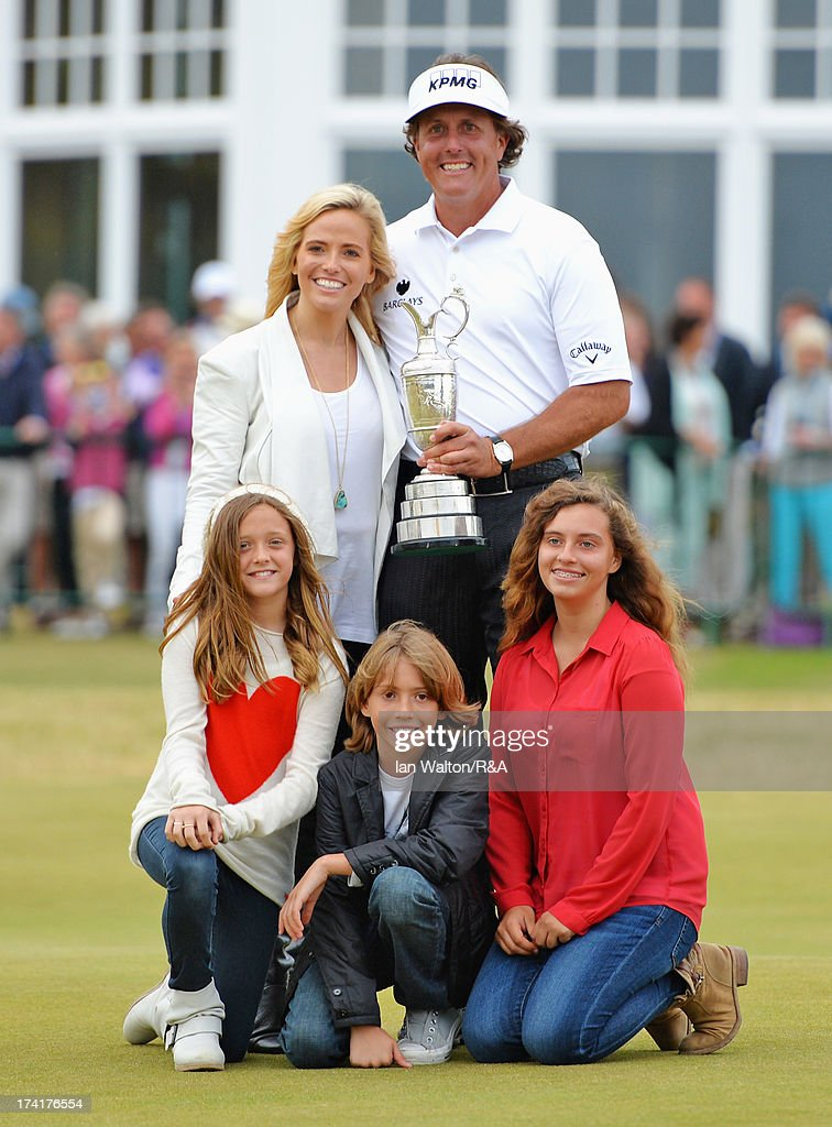 <a gi-track='captionPersonalityLinkClicked' href=/galleries/search?phrase=Phil+Mickelson&family=editorial&specificpeople=157543 ng-click='$event.stopPropagation()'>Phil Mickelson</a> of the United States holds the Claret Jug with wife Amy and children Evan, Amanda and Sophia after winning the 142nd Open Championship at Muirfield on July 21, 2013 in Gullane, Scotland.