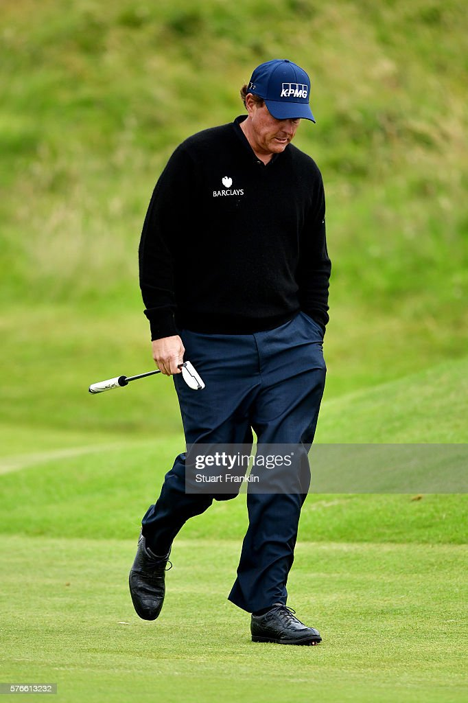 Phil Mickelson of the United States looks despondent on the 15th hole during the third round on day three of the 145th Open Championship at Royal Troon on July 16, 2016 in Troon, Scotland.