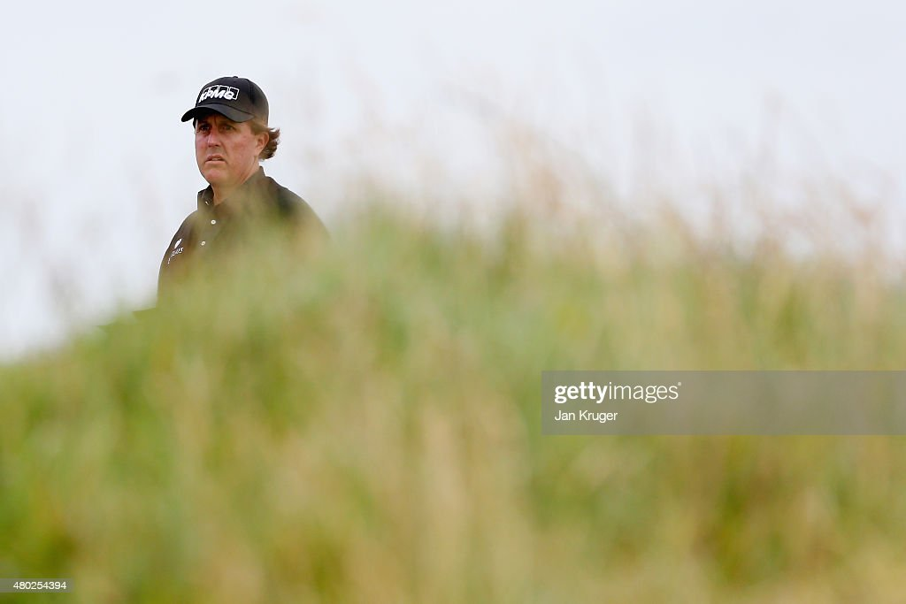 Phil Mickelson of the United States looks on from the sixth tee during the second round of the Aberdeen Asset Management Scottish Open at Gullane Golf Club on July 10, 2015 in Gullane, East Lothian, Scotland.